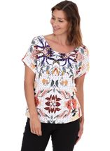 Printed Textured Short Sleeve Top