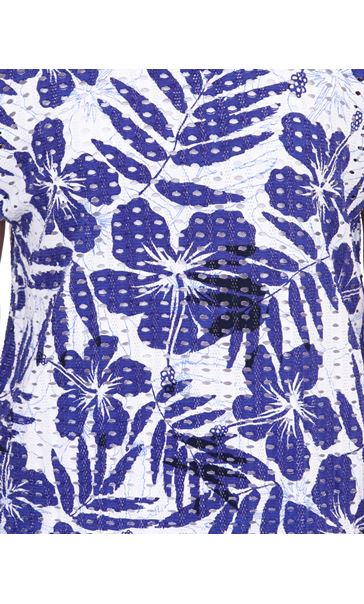 Printed Textured Short Sleeve Jersey Top Blue/White - Gallery Image 3