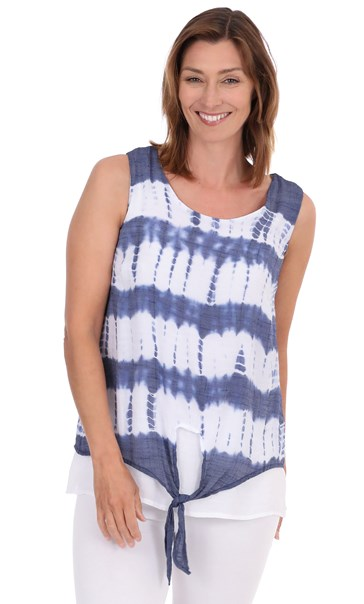 Sleeveless Double Layer Print Top Navy/White - Gallery Image 1