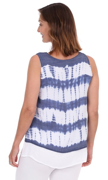 Sleeveless Double Layer Print Top Navy/White - Gallery Image 2
