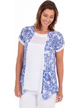 Dip Hem Tunic With Printed Panels
