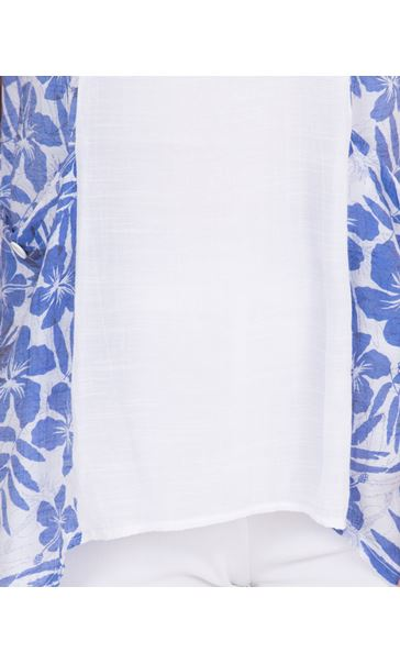 Dip Hem Tunic With Printed Panels White/Sapphire - Gallery Image 3
