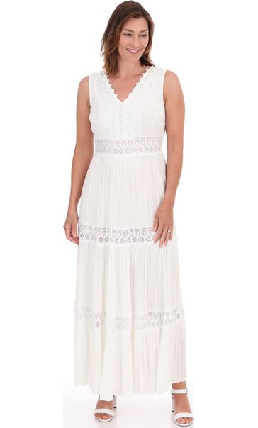 Sleeveless Lace Trim Boho Maxi Dress White - Gallery Image 2