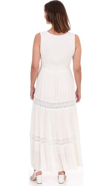 Sleeveless Lace Trim Boho Maxi Dress White - Gallery Image 3