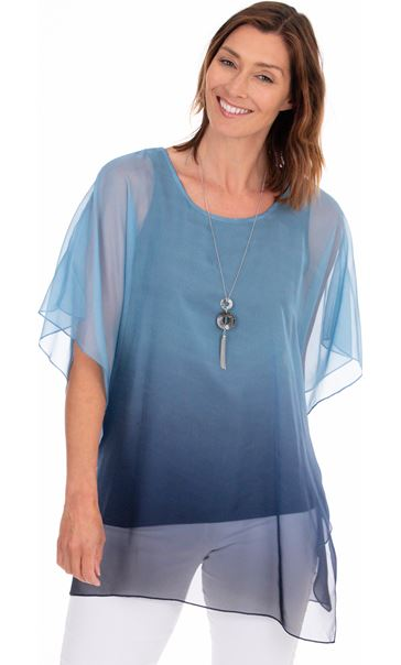 Chiffon Layered Tunic With Necklace Ivory/Midnight