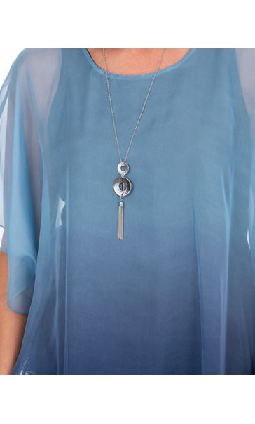 Chiffon Layered Tunic With Necklace Ivory/Midnight - Gallery Image 3