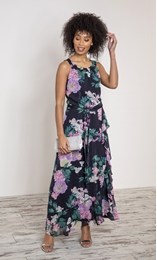 Floral Chiffon Sleeveless Maxi Dress
