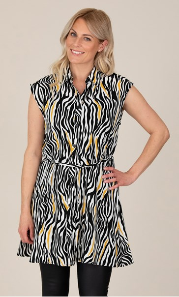 Animal Print Short Sleeve Shirt Dress Black/Mustard - Gallery Image 2