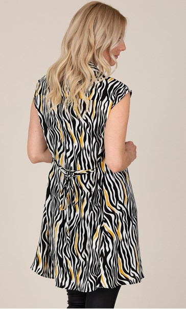 Animal Print Short Sleeve Shirt Dress Black/Mustard - Gallery Image 3