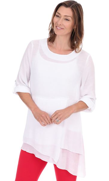 Crinkle Layered Tunic White