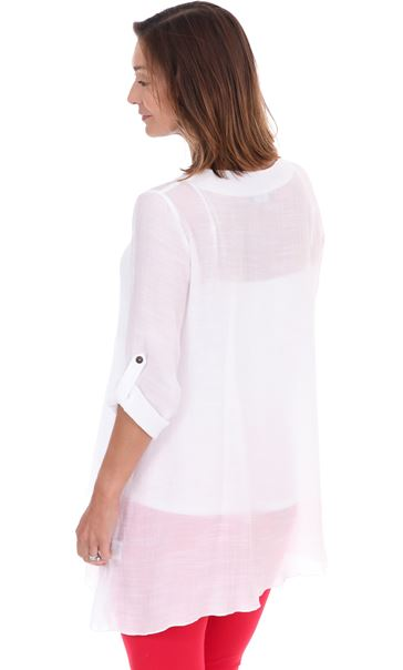 Crinkle Layered Tunic White - Gallery Image 2