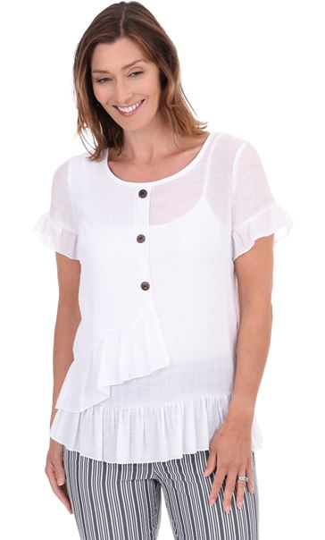 Frill Trim Short Sleeve Top White