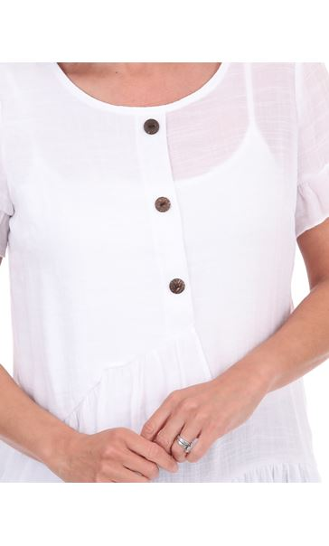 Frill Trim Short Sleeve Top White - Gallery Image 3