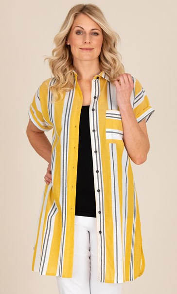 Striped Cotton Shirt Dress Mustard/White/Black