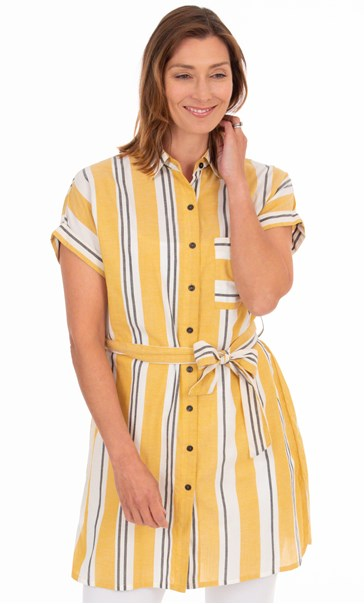 Striped Cotton Shirt Dress Mustard/White/Black - Gallery Image 2