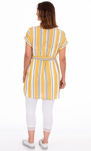Striped Cotton Shirt Dress Mustard/White/Black - Gallery Image 3