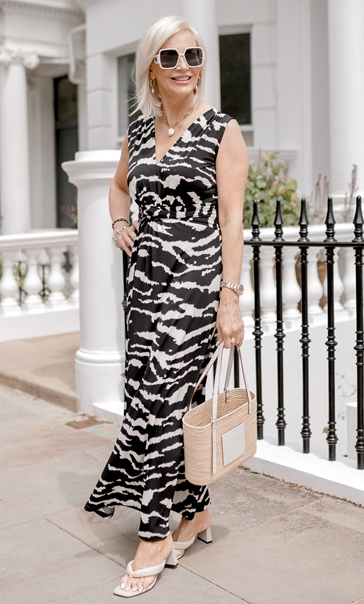 Sleeveless Printed Jersey Dress Black/Ecru