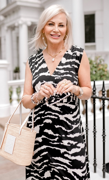 Sleeveless Printed Jersey Dress Black/Ecru - Gallery Image 2