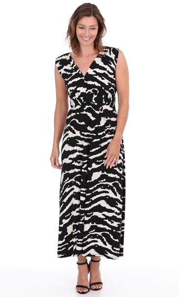 Sleeveless Printed Jersey Dress Black/Ecru - Gallery Image 3