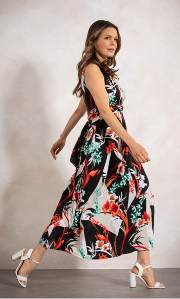Tie Waist Printed Maxi Dress Black/Tomato - Gallery Image 2