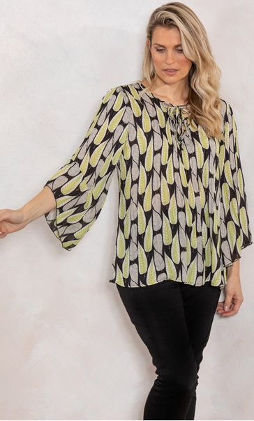 Georgette Leaf Printed Pleat Top Black/Stone/Lime