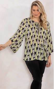 Georgette Leaf Printed Pleat Top
