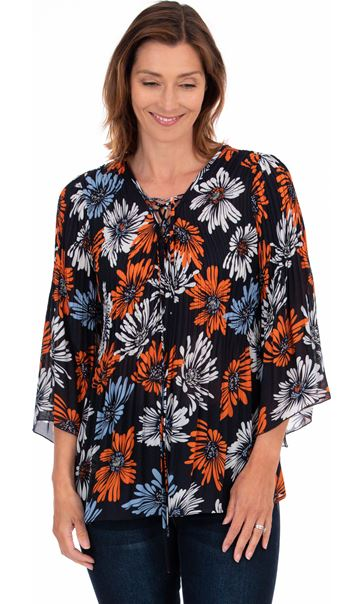 Georgette Printed Pleat Top Midnight/Blue/Orange