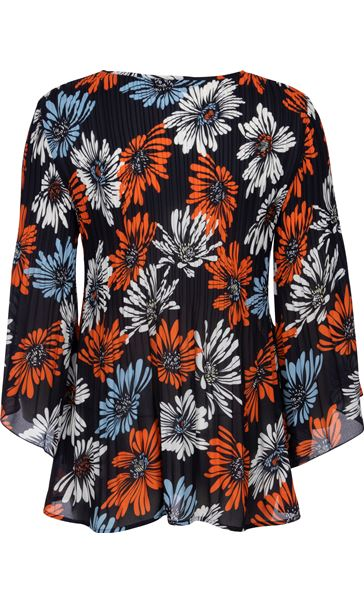 Georgette Printed Pleat Top Midnight/Blue/Orange - Gallery Image 2
