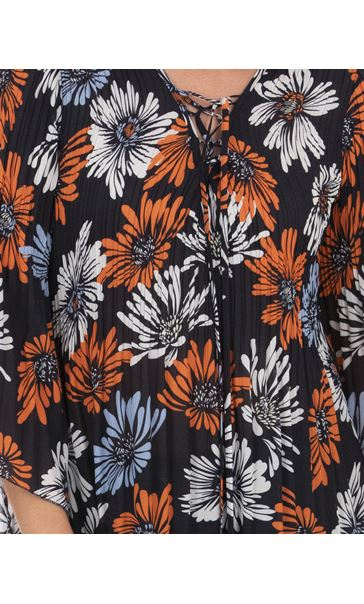 Georgette Printed Pleat Top Midnight/Blue/Orange - Gallery Image 3