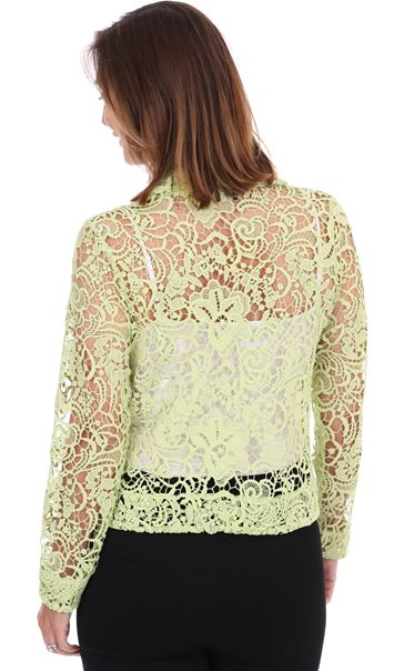 Long Sleeve Crochet Jacket - Lime