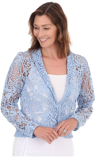 Long Sleeve Crochet Jacket Blue