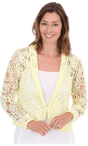 Long Sleeve Crochet Jacket - Soft Yellow