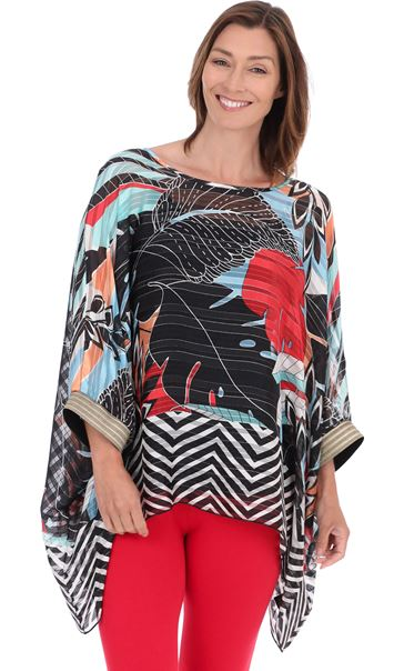 Relaxed Fit Printed Top Black/Red