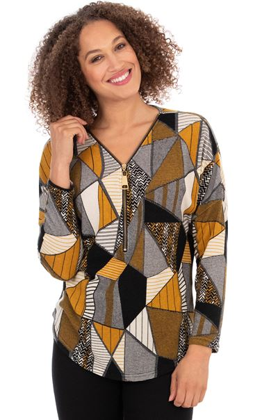 Printed Long Sleeve Top Beige/Mustard