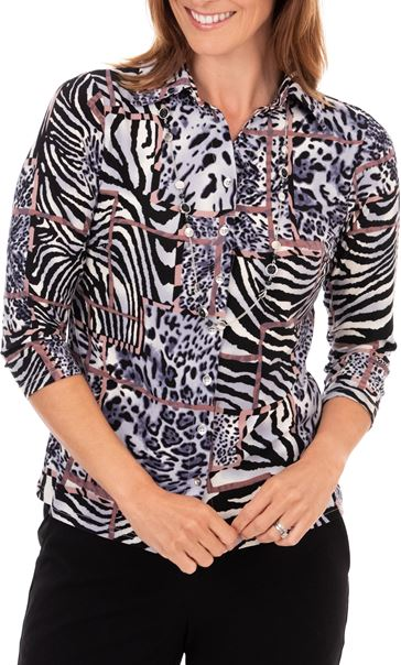 Anna Rose Print Blouse With Necklace