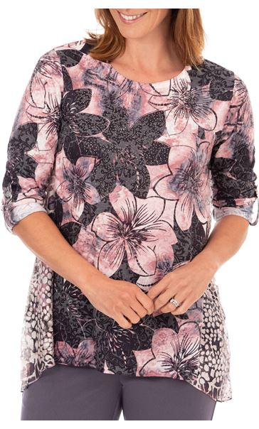 Anna Rose Embellished Floral Print Top Black/Pink