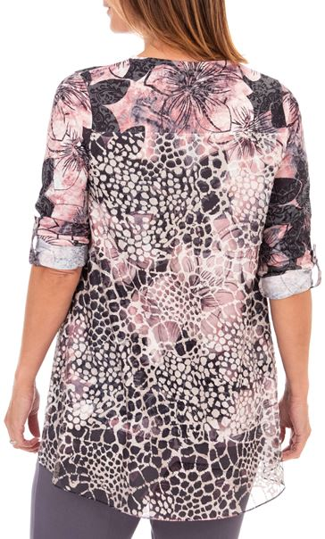 Anna Rose Embellished Floral Print Top Black/Pink - Gallery Image 2