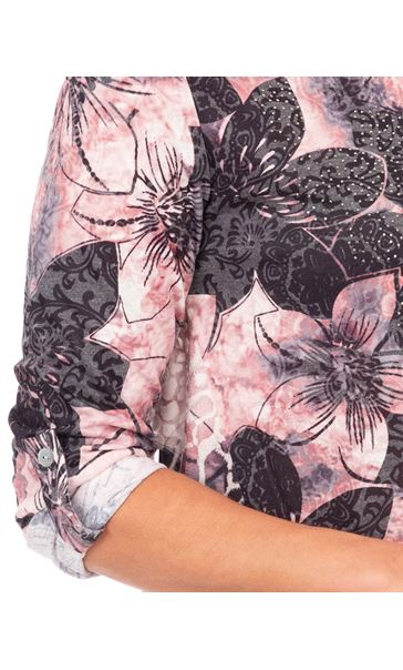 Anna Rose Embellished Floral Print Top Black/Pink - Gallery Image 3
