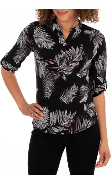 Anna Rose Feather Print Top Black/Pink