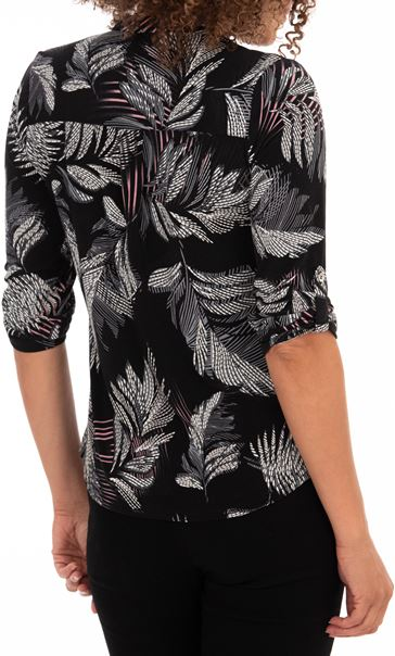 Anna Rose Feather Print Top Black/Pink - Gallery Image 2