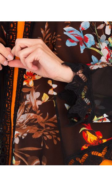 Crochet Trimmed Printed Georgette Cover Up Black - Gallery Image 3