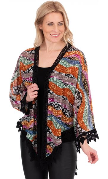 Georgette And Crochet Cover Up Multi/Black/Rust