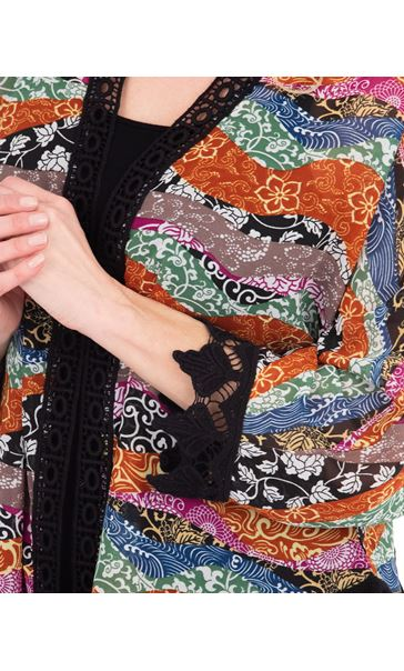 Georgette And Crochet Cover Up Multi/Black/Rust - Gallery Image 3