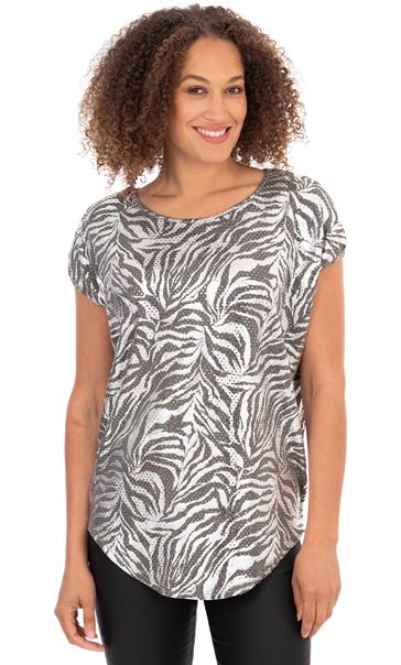 Printed Shimmer Short Sleeve Top Silver