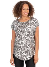 Printed Shimmer Short Sleeve Top