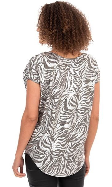 Printed Shimmer Short Sleeve Top Silver - Gallery Image 2