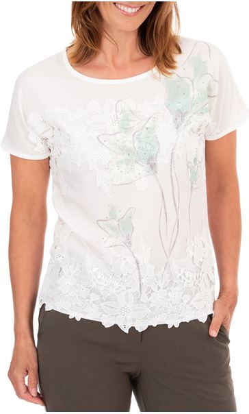 Anna Rose Placement Print Top Ivory Multi