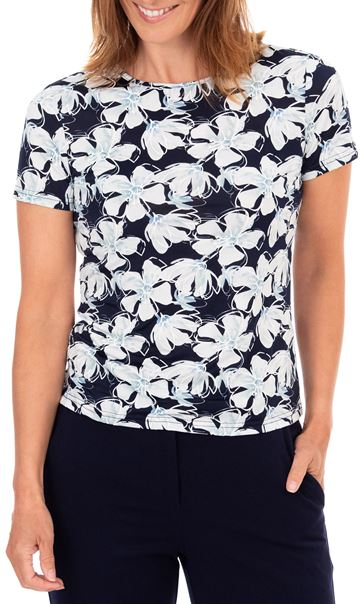 Anna Rose Short Sleeve Textured Floral Top