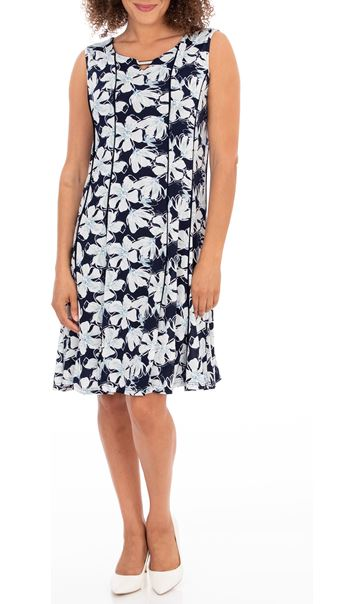 Anna Rose Floral Print Jersey Dress Midnight/Blue