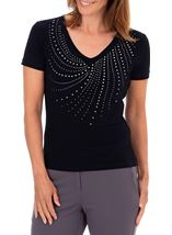 Anna Rose Embellished V Neck Top